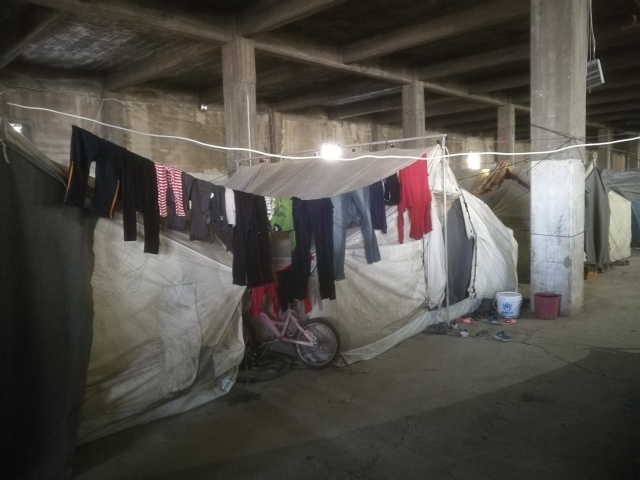 Softex refugee camp in Thessaloniki heute morgen.